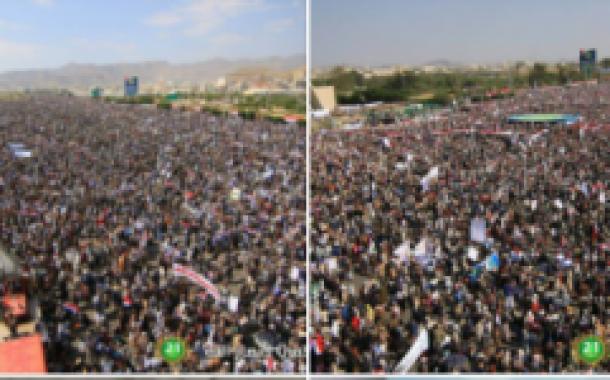 بالصور : أكبر حشدٌ يعرفة السبعين بصنعاء وتجمع مليوني وأكبر قافلة في تاريخ اليمن