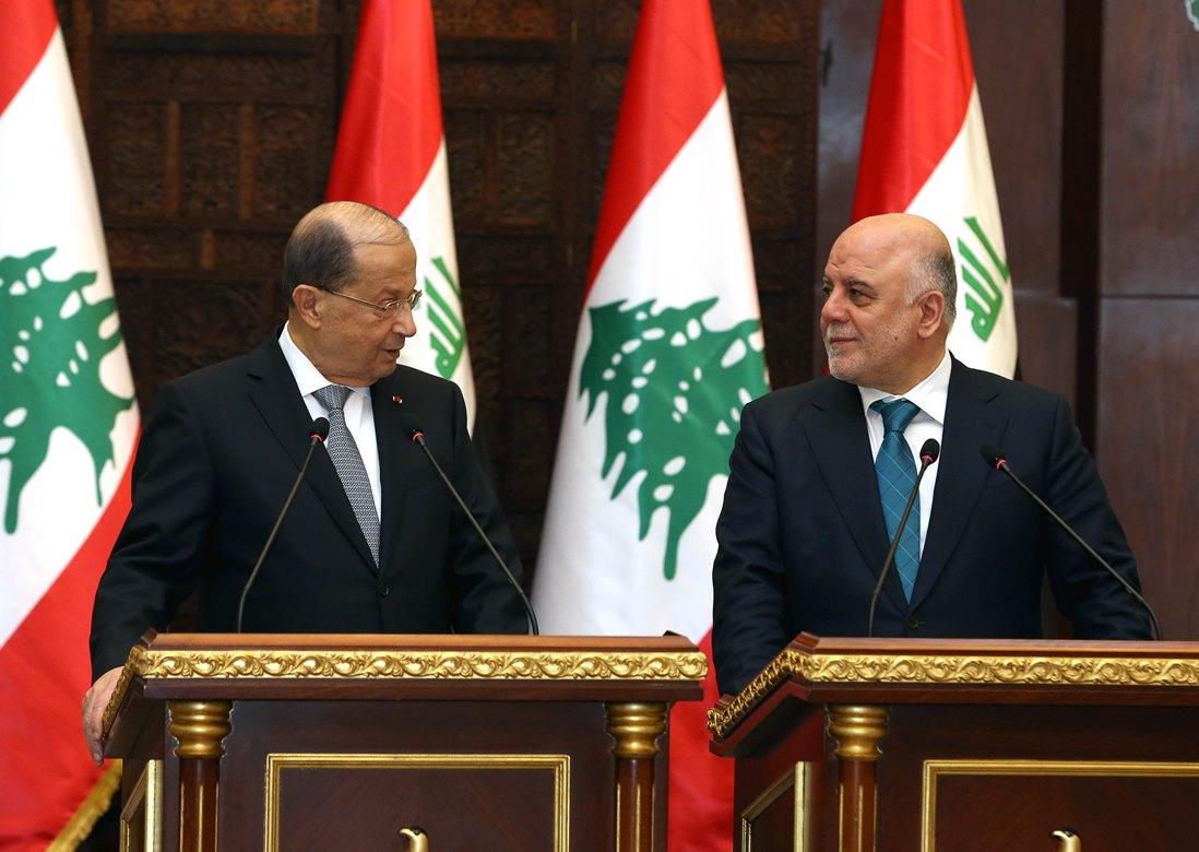 الرئيس عون التقى العبادي وأكد استعداد الشركات والمستثمرين اللبنانيين المساهمة في ورشة اعادة اعمار العراق .